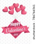 heart shaped pink balloons... | Shutterstock .eps vector #786766561