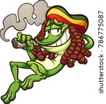 Frog with rasta hair, smoking a joint . Vector clip art illustration with simple gradients. All in a single layer.