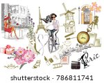 set of paris illustrations with ... | Shutterstock .eps vector #786811741
