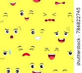 funny face seamless pattern.... | Shutterstock .eps vector #786822745