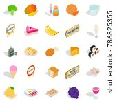 tasty pie icons set. isometric... | Shutterstock .eps vector #786825355