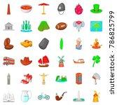 london icons set. cartoon style ...   Shutterstock .eps vector #786825799