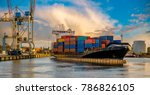container ship leaving from the
