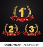 award golden label of first ... | Shutterstock .eps vector #786840349