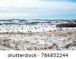 Hay Bales On A Farmland In...