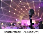 microphone close up on stage in ... | Shutterstock . vector #786855094