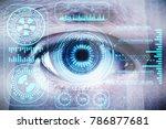 eye with blue digital hologram. ... | Shutterstock . vector #786877681