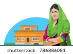 indian traditional lady | Shutterstock .eps vector #786886081
