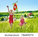 Group Children Flying Kite...