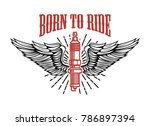 born to ride. spark plug with... | Shutterstock .eps vector #786897394