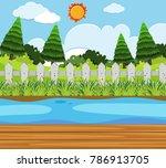 pine trees along the river... | Shutterstock .eps vector #786913705