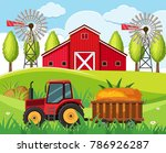 farm scene with red tractor and ... | Shutterstock .eps vector #786926287