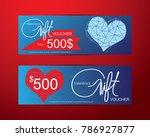 gift vouchers happy valentine's ...   Shutterstock .eps vector #786927877