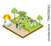 cage with zebras isometric 3d... | Shutterstock .eps vector #786928561