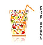 mix of fruit juice in glass for ... | Shutterstock .eps vector #78692896