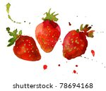 strawberry watercolor | Shutterstock . vector #78694168