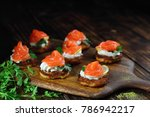 appetizer of salmon on potato... | Shutterstock . vector #786942217