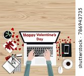 happy valentine's day.... | Shutterstock .eps vector #786943735