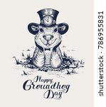 happy groundhog day lettering... | Shutterstock .eps vector #786955831