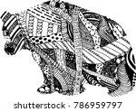 polar bear line drawing doodle    Shutterstock .eps vector #786959797