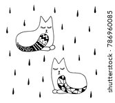 Stock vector cute lovely cats with beautiful tails sleeping tight adorable dreaming kitten pets in rain hand 786960085