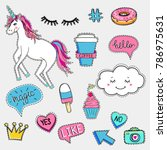 set of cute trendy patches with ... | Shutterstock .eps vector #786975631