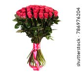 Stock photo fresh lush bouquet of red roses isolated on white 786976204