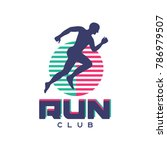 run club logo  emblem with... | Shutterstock .eps vector #786979507