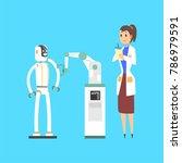 female scientist cartoon... | Shutterstock .eps vector #786979591