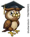 a wise owl cartoon character... | Shutterstock .eps vector #786980401