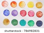 bright multicolored circles of... | Shutterstock . vector #786982831