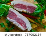delicious smoked meat cooked in ... | Shutterstock . vector #787002199