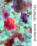 seamless summer pattern with... | Shutterstock . vector #787007161