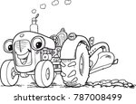 tractor with plows | Shutterstock .eps vector #787008499