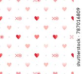 seamless pattern with hearts ... | Shutterstock .eps vector #787016809