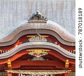 Stock photo tsurugaoka hachimangu shinto shrine maiden hall roof ridge detail most important shinto shrine in 787018189