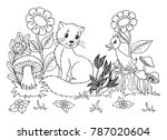 Stock vector vector illustration zentangl the kitten plays with the duckling in the meadow coloring book 787020604