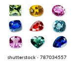 bright gems isolated on a white ... | Shutterstock . vector #787034557