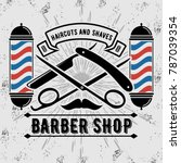 barbershop logo with barber... | Shutterstock .eps vector #787039354
