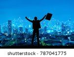 silhouette of businessman with... | Shutterstock . vector #787041775