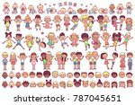 vector flat kids graphics... | Shutterstock .eps vector #787045651