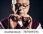 close up image of senior man... | Shutterstock . vector #787049191