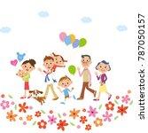 three generations family... | Shutterstock .eps vector #787050157
