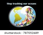 ecological poster. a tsunami...   Shutterstock .eps vector #787052689