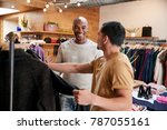 two young men shopping for... | Shutterstock . vector #787055161