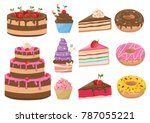 vector set of cakes bakery... | Shutterstock .eps vector #787055221