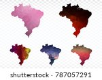 set map polygonal brazil map.... | Shutterstock .eps vector #787057291