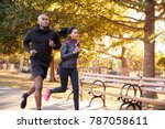 young black couple jogging in a ... | Shutterstock . vector #787058611