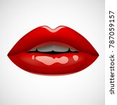 female sexy red lips isolated... | Shutterstock .eps vector #787059157