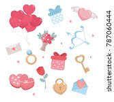 valentines day set. romantic... | Shutterstock .eps vector #787060444